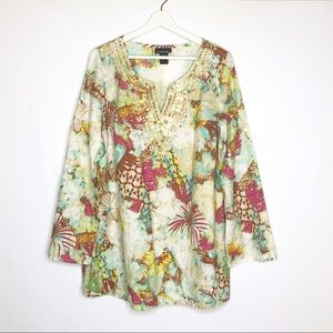 Lane Bryant Tops - Lane Bryant 14/16 Floral Beaded Long Sleeve Tunic
